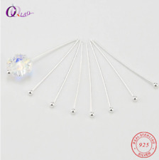925 Sterling Silver 10 Pieces Hair Head Pins Beads Connector Jewelry Pin Ball
