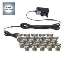 SET OF 20 - 30mm IP67 ROUND COOL WHITE LED DECKING / GROUND / PLINTH LIGHT KIT