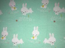25 cm Jersey Kinderstoff Kleine Weiße Hasen 🐰 Bunny Auf Türkis Mint 15€/m