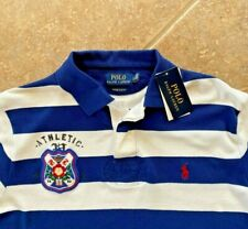 Polo Ralph Lauren Mesh Polo Shirt XL Eton Field Custom Slim Fit Blue Striped NWT