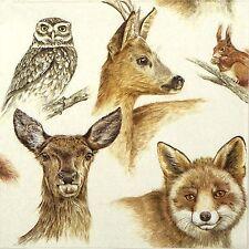4x partito unico Carta Tovaglioli per Decoupage Decopatch Craft Animali della Foresta
