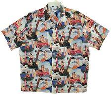 Sz 3X Hawaiian Aloha Shirt PIN-UP GIRLS Cotton WAVE SHOPPE San Diego CA USA