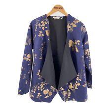 Soft Surroundings Womens Cardigan Small Petite Blue Gold Sweater Floral Samsara