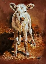YARY DLUHOS ORIGINAL OIL PAINTING Cow Calf Farm Animal Rural Country Ranch Barn