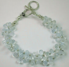 Sterling  2 Strand Aquamarine Briolette Bracelet Bride Wedding Bridal Party