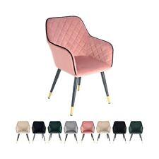 Samt Stuhl Gesteppt Rosa Gold mit Lehne Esszimmerstuhl Wohnzimmer Stühle