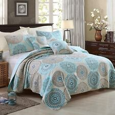 Quilted 100% Cotton Coverlet / Bedspread Set Queen King Size Bed 230x250CM Blue