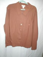 Chadwick's 24W chocolate brown blouse in linen and cotton