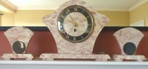 Art Deco Marble Clock with Garnitures