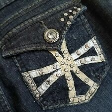Grace in LA Jeans Denim Sz 9 Distressed Bling Rhinestones Fashion Design Blue C1