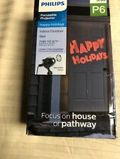 Philips Led Happy Holidays Focusable Projector Light P6 Red New Christmas Decor