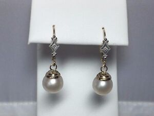 14Kt Yellow & White Gold FW Cultured Pearl & Diamond Dangle Leverback Earrings
