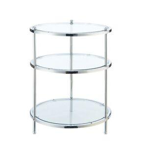 Convenience Concepts Royal Crest 3 Tier Round End Table, Chrome/Glass - 134345