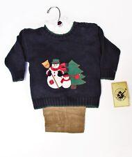 6-9M 3 pc Outift Boys Navy Kahki Snowman Good Lad  NWT Holiday Christmas LAST 1!