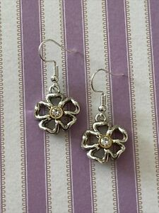 Brighton LUX GARDEN Crystal Center Cutout Flowers Custom Gold & Silver Earrings