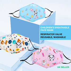 Kid's Cotton Face Mask with valve - Reusable, Good Protection for Kids
