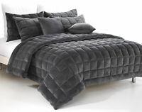 Plush Faux Mink Augusta Quilt Set  | Comforter Set  | Charcoal | Super King