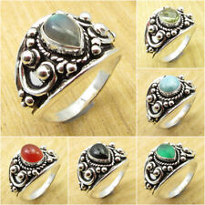 SIZE OPTION ! Blue Fire LABRADORITE & Other DROP Stones Ring, 925 Silver Plated