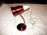 Retro 1950's Anodised Aluminium Cherry Red Flexi Arm Gooseneck Desk Lamp