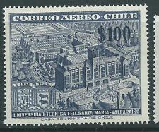 CHILE 1956 Sc.C191 Airmail 100 pesos U. Santa Maria MNH