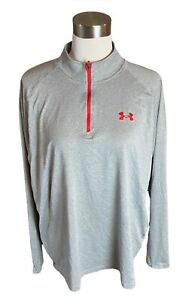 Women's Large Under Armour HeatGear Loose Fit Grey 1/4 Zip Pullover Shirt Top