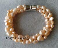 Charm Armband, 3 Stränge 6-9 mm rosa Barock perle Armband