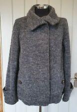 Max Mara weekend grey wool jacket size 12 mohair alpaca funnel neck button