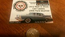 1959 FORD SKYLINE VERMONT AREA  CAR AUTO SHOW BADGE TOPPER EMBLEM LICENSE PLATE