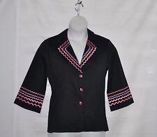 Bob Mackie 3/4 Sleeve Rick Rack Design Jacket Size S Black