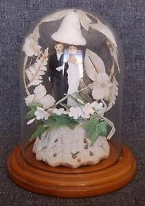 CHARMING 1930'S - 1940'S ORNATE WEDDING CAKE TOPPER UNDER GLASS DOME