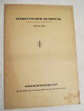 Süddeutscher Rundfunk Stuttgart , Geschäftsbericht  1950