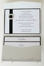 WEDDING INVITATIONS DIY POCKET CARDS ENVELOPES SILVER SHIMMER INVITES DESIGN 2