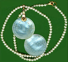 ROUND PENDANT c.1765 Engraved 2 Sides CHINESE Mo.PEARL PAGODA VERMEIL FANCY BALE