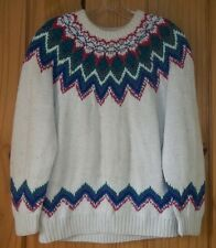 Northern Isles Gorgeous Colorful Hand Knit Crewneck Sweater, Womens L