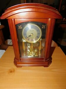 Bulova B1848 Nordale Clock Walnut Wood Finish Working, Batteries Included