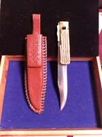 VINTAGE  FOLDING HUNTING KNIFE,STAG BONE HANDLE*SPECIAL LOCK* SHEATH INCLUDED