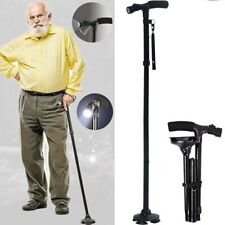 Folding Adjustable Slip Resistant Walking Stick Flashlight Travel Climbing Cane