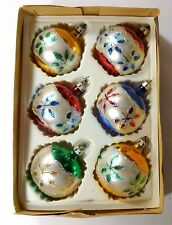 6 VINTAGE GLASS MULTI CHRISTMAS ORNAMENTS made in POLAND for BOOTS original box