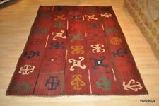 5' x 7' wool  Embroidery Tribal rug  hand sewn, hand woven wool area wool rug.