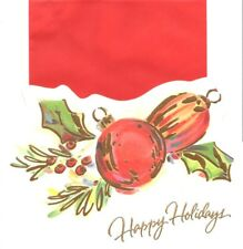 Classic Red Ornament Balls & Holly Happy Holidays Greeting Cards By Paper Magic