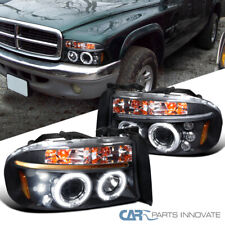 For Dodge 97-04 Dakota Durango Black LED DRL Halo Projector Headlight Left+Right
