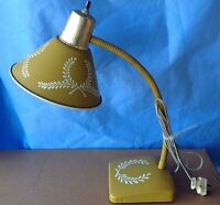 Vintage Gooseneck Lamp Mid Century Table desk flex goldenrod wheat flexible neck