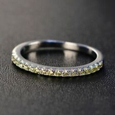 0.29Ct Round Cut Canary Yellow Syn Diamond Eternity Ring White Gold Finsh Silver