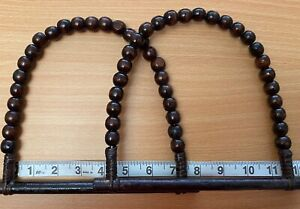 Pair (2) Brown Cane & Wood Bead Bag D Shaped Bag Handles for Knitting or Sewing