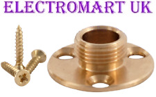 "1/2"" THREADED BRASS LAMP LIGHT HOLDER BASE 3 FIXING HOLES & SCREWS"