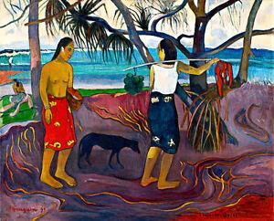 Under the Pandanus by Paul Gauguin A1+ High Quality Canvas Print