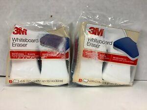 3M Whiteboard Eraser for Whiteboards, 2-Pack, White/Blue - Lot of 2
