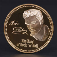 Elvis Presley 1935-1977 The King of N Rock Roll Gold Art Commemorative Coin P hf
