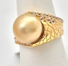 Golden South Sea Cultured 11mm Pearl Ring with 18k Gold Plating