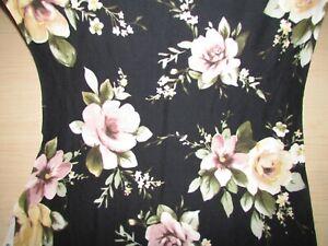 POLY BRUSHED LYCRA STRETCH BLACK w/FLOWERS PRINT